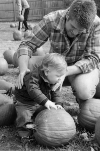 Examining a pumpkin with Da-da!